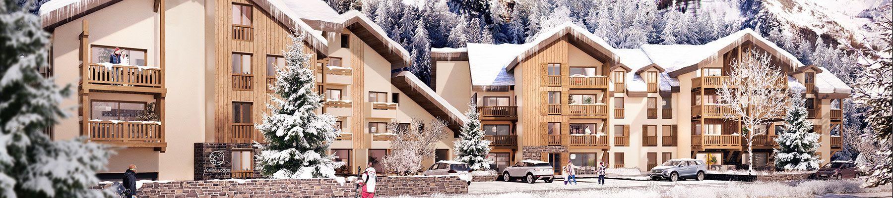 Programme Cristal Lodge à Serre Chevalier sous la neige. Nouveau programme immobilier neuf du groupe Terresens
