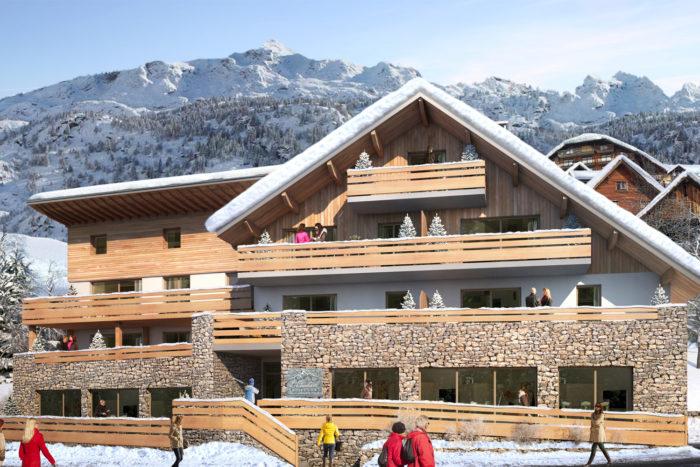 Façade du nouveau programme immobilier neuf du groupe Terresens. Résidence, haut de gamme, l'Etendard à Vaujany. Investir dans l'immobilier neuf à la montagne