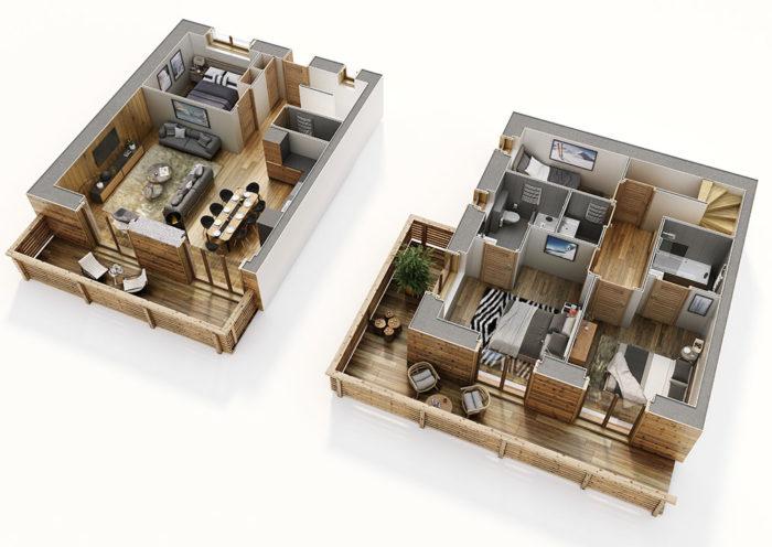 Vue 3D d'un appartement à Grimentz, Terrésens